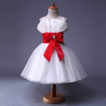 Pettigirl New Fashion Kids Weeding Dress With Red Rose Sash Baby Girl Dress White Kids Clothes