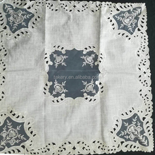 organdy embroidery two layers tablecloth with cutwork