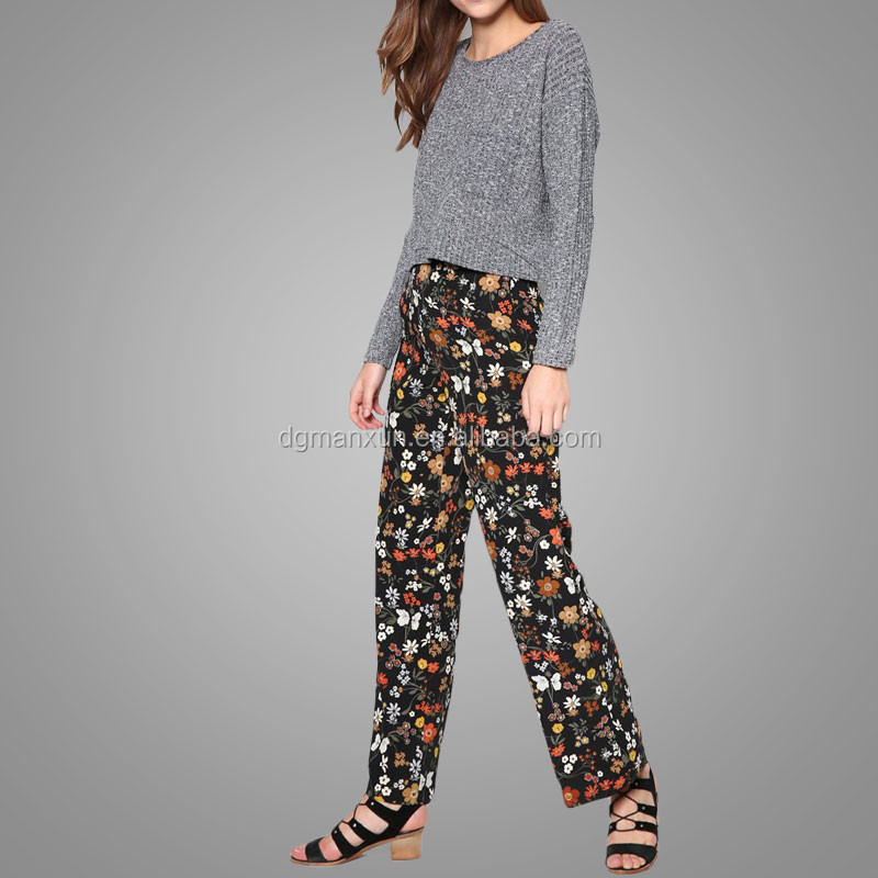 Manxun high quality new fashion style dark floral casual loose wide leg trousers for women
