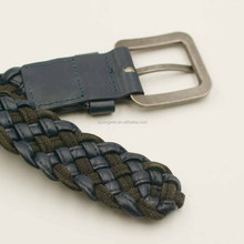 Leather cord and fabric cotton string braided woven belt