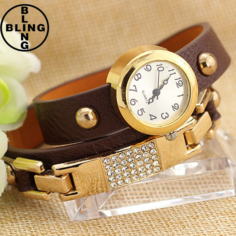 >>>2017 New Fashion Leather Bracelet Watches Women Wrap Winding Ladies Women's Vintage Wristwatch