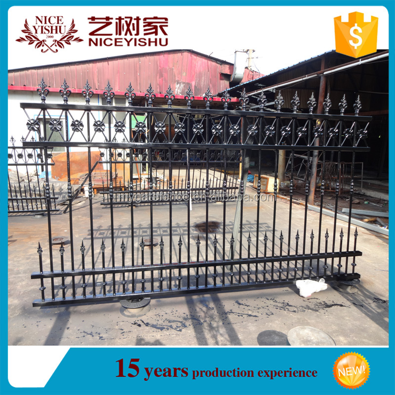 Yishujia factory modern design decorative commercial metal fence panels, used wrought iron fencing