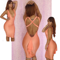 Cheap hot sale pink deep be neck open back mermaid mini sexy club dress