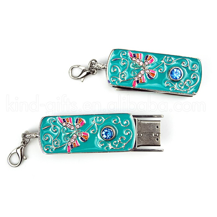 Fashional Metal Jewelled Necklace Design USB Customized Usb Flash Drives For Promotional Gifts