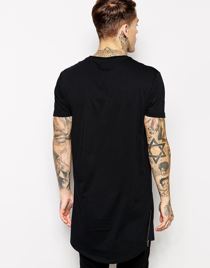 mens tall tee extra long side zip t shirts buy mens. Black Bedroom Furniture Sets. Home Design Ideas