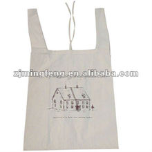 cotton bag/ leather patch canvas tote bag/ cloth drawstring cotton bags