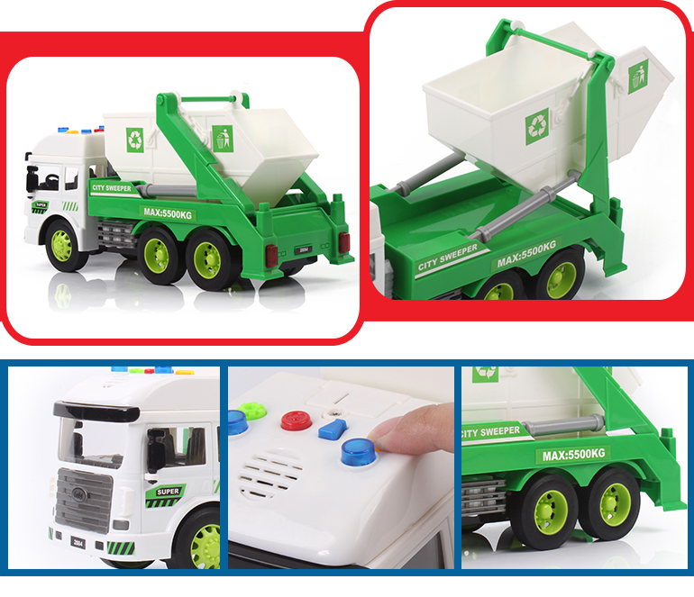 Plastic battery operated lights street sweeper dumper garbage truck toy with music