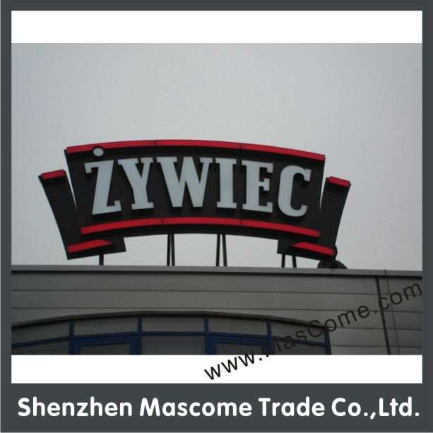 Exterior RoofTop Hanging Advertising Building Signs, Glow in Dark Building Signs
