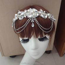 new coming handmade lace pearl flower girl tiara with crystal pendant