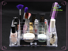 Fashion women acrylic clear cube makeup organizer/acrylic desktop with handle