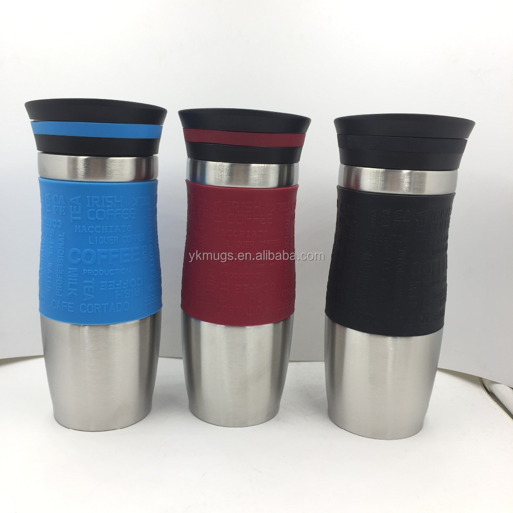 380ML DOUBLE WALL STAINLESS STEEL VACUUM MUG WITH SILICONE IN MIDDLE