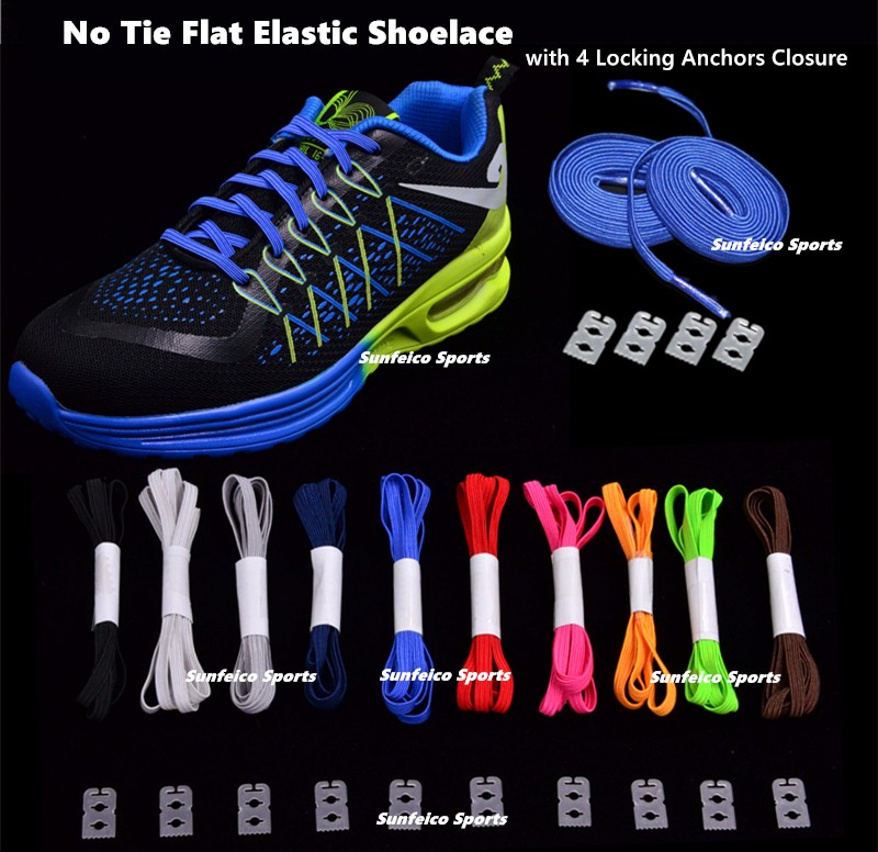 Customized No-tie Kids Flat Elastic Shoelaces with Metal/Plastic Hooks Clips - over 11 Colors Available - eBay/Amazon Supplier