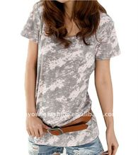 2012 women short sleeve o neck skin tight fitted tall burn out t shirt with diamond in front t shirt