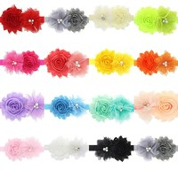 Elastic Headbands with pearl rhinstone button flower baby girl hair accessories infant rose flower hairbands headwear