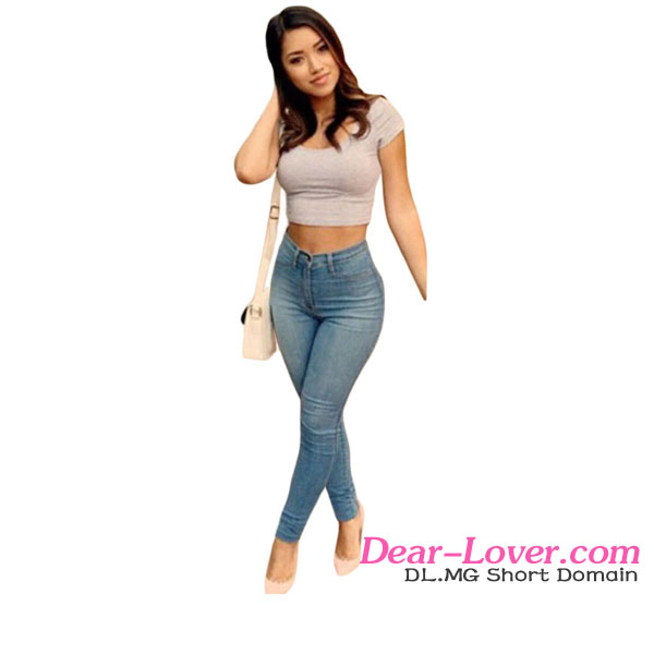 Light Blue Classic High Waist young tight fashion 2016 fashion latest jeans tops girls