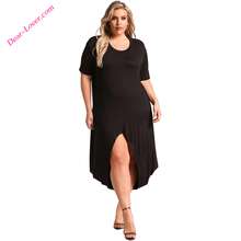 O-neck casual slit Plus Size knit maxi dress