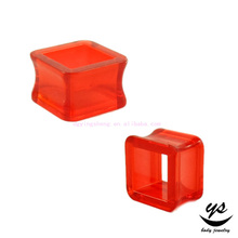 Piercing Body Jewely Transparent Red Square Acrylic Flesh Tunnel