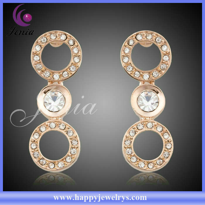 2014 New Fashionable Design Cheap Price 18k Gold Plated With High Quality Austrian Crystal Number Earrings(PE039)