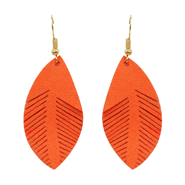 Orange tangerine leather leaf pendant charm <strong>earring</strong>