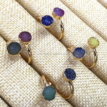 MU150911270 Best Gift Mix Colors Two Stones Druzy Agate Ring Adjustable Gemstone Ring