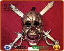 Terrorist Halloween Pirate Skull Face Mask Cosplay Prop Mask with PU Leather