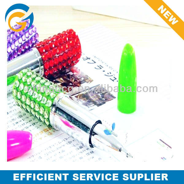 Crystal Lipstick Plastic Ball Pen