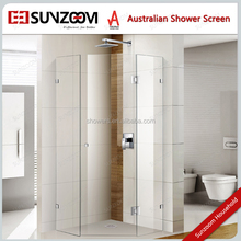 Australia fixed diamond 900x900 frameless shower screens with 10m PAS MARK glass