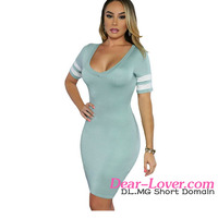 Sexy New Arrival Green Stripes Sleeves Slim Fit Dress women fashion without dress