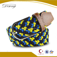 BET6 western design men braided elastic stretch belts wholesale