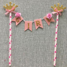 Owner design Princess Crown with flower Birthday Cake Banner Baby Shower Paper