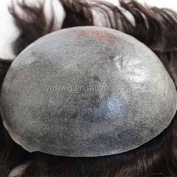 Indian Human remy Hair Invisible Thin Skin Injected Toupee in stock.