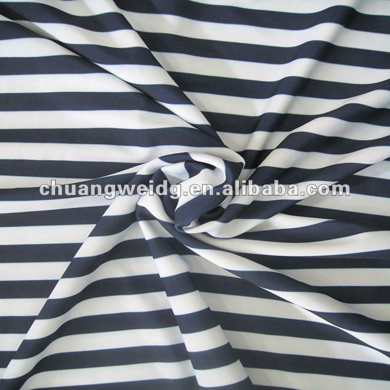 Stripe Athletic Knit Fabrics Black and White