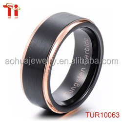 Latest gold ring designs,8MM Men's Titanium Gold-Plated Ring Wedding Band with Flat Brushed Top,Polished Finish Edges