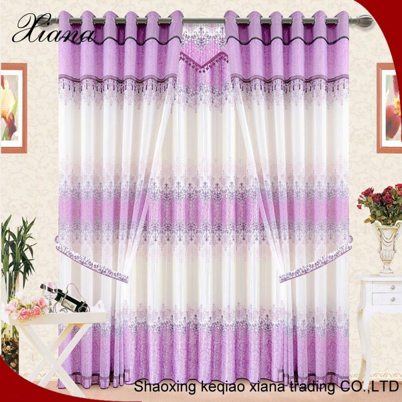 Bathroom waterproof fabric embroidered 100% polyester sheer curtain