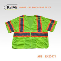 ANSI Class 3 tear away 5 points reflective safety vests wholesale removable sleeves vest