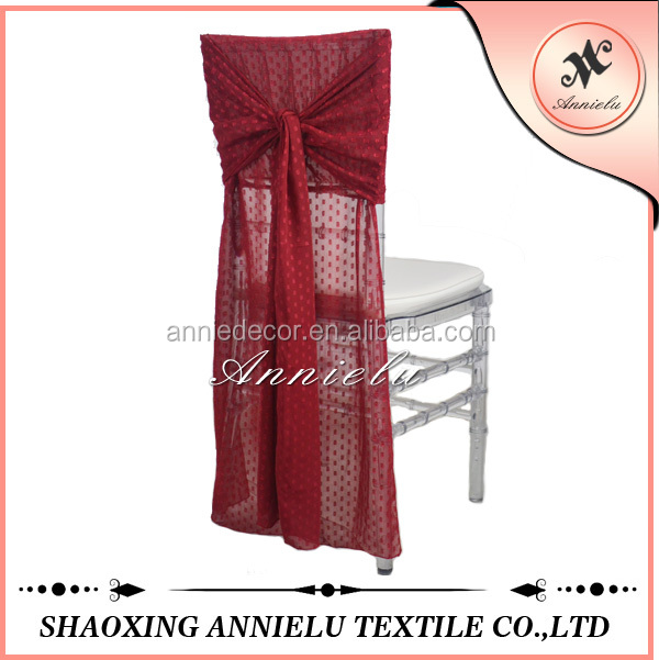 Hot sale red wedding chiffon chair cover wholesale