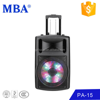 "Durable pa system indoor stage concert 15"" bluetooth light speaker"