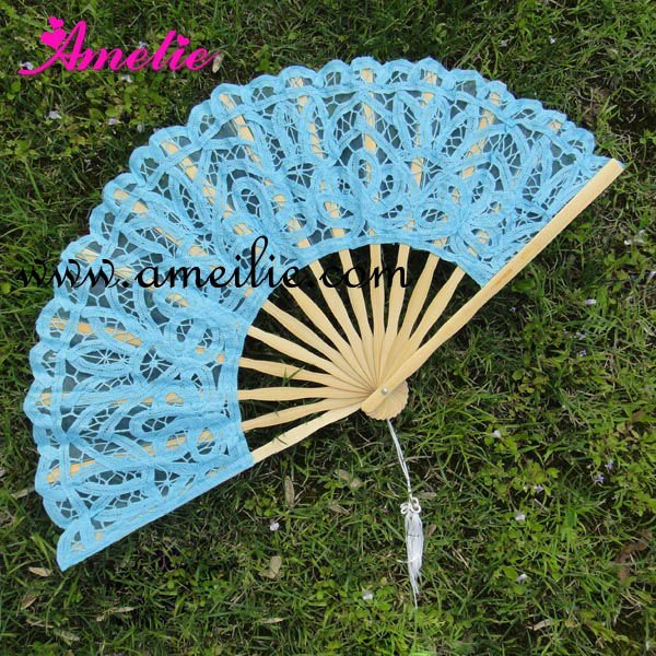 Gothic Lolita Party Decoration Lace Blue Hand Fan with Black ribs Wedding Decoration Guest Gift