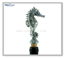 silver foil lighted seahorse bottle stopper/octopus wine bottle stopper with wooden cork make you own wine bottle stopper