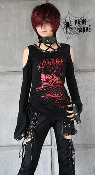 PUNK RAVE gothic/punk flare sleeve long T-shirt T-148