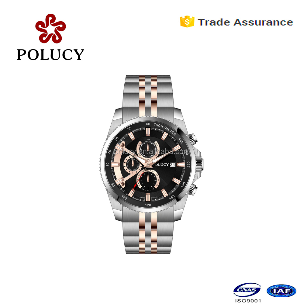 Shenzhen factory OEM polucy chronograph cheap men watch with 10atm waterproof