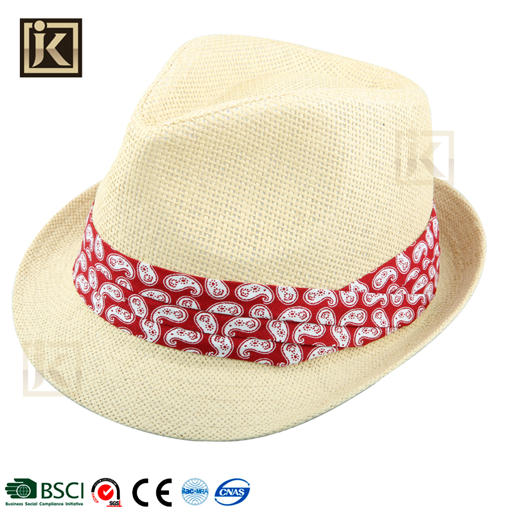 JAKIJAYI high quality juzz bright color of cloth summer hat for man papper straw fedora man hat
