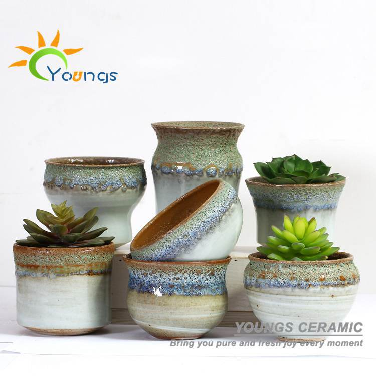 100% Handicraft Chinese Colour Glazed Mini Ceramic Flower Pots Planters For Succulent Plants