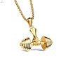Mens Round Box Chain Barbell Weight Sport Fitness Dumbbell Pendant Necklace