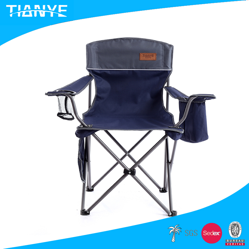 popular outdoor light portable camping stainless steel used metal folding reclining chair with cooler bag