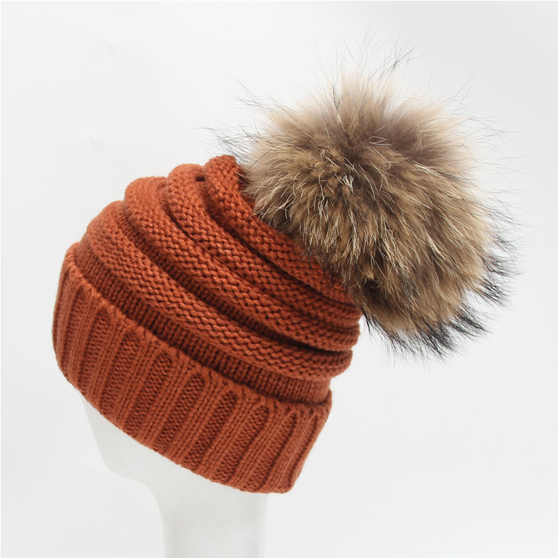 Winter slouch knitted hats detachable raccoon fur pom pom hats for fashion