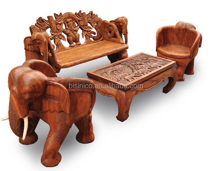 Southeast Asia Style Elephant Shape Wood Chair Exquisite