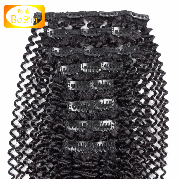 Wholesale Malaysian Remy Human Hair Extension for black and white women Clip In Hair Extention