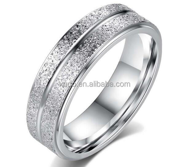 free shipping cheap Double row frosted stainless steel ring for men