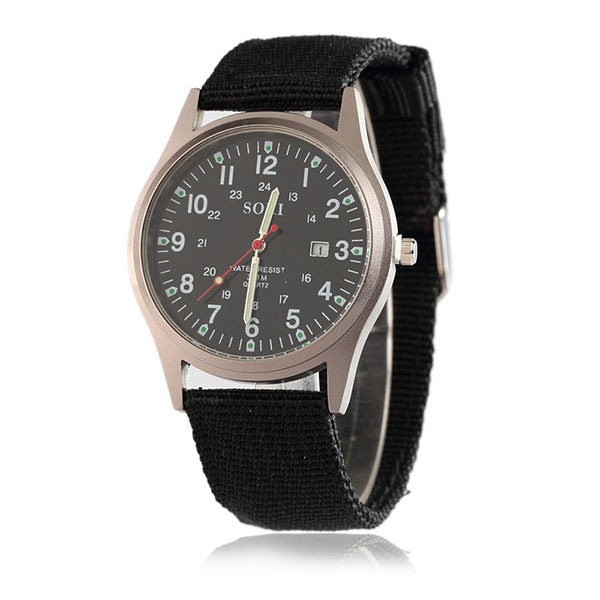 New arrival watches nylon bands strap vogue men military wristwatch custom free logo watches stainless steel back